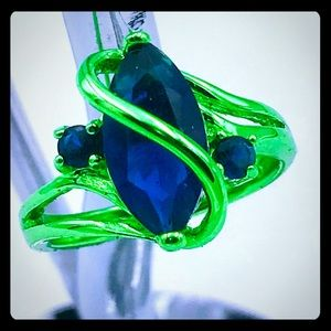 Jewelry - Green Rhodium plated blue quartz ring